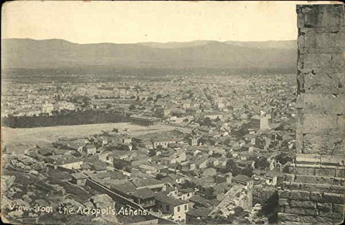 Athens Acropolis Greece View - View from The Acropolis Athens, Greece Original Vintage Postcard