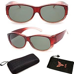 (#FTOVR #2 Red) 1 Pair Polarized Lenses Prescription Men Women Fit Over Cover Glasses Round Sunglasses
