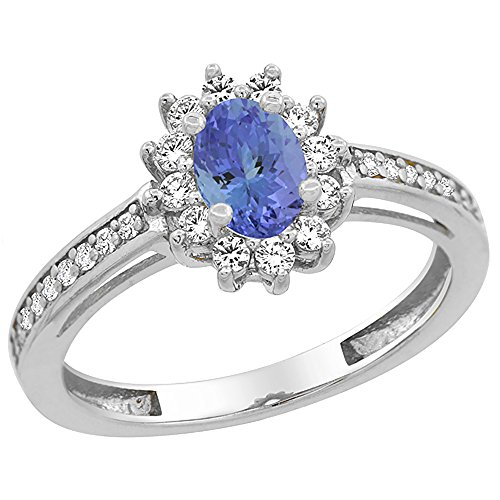 - 10K White Gold Natural Tanzanite Flower Halo Ring Oval 6x4 mm Diamond Accents, size 5