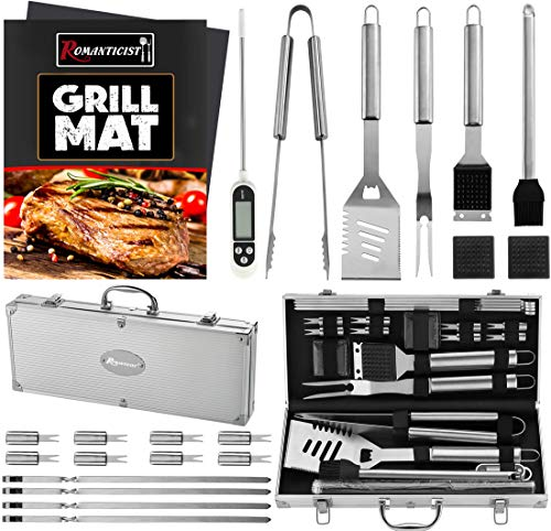 ROMANTICIST 23pc Must-Have BBQ Grill Accessories Set with Thermometer in Case - Stainless Steel Barbecue Tool Set for Backyard Outdoor Camping - The Very Best Grill Gift for Everyone on Christmas