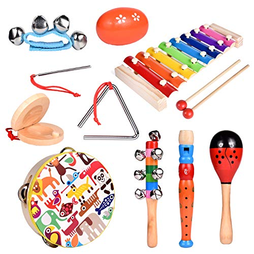 FUN LITTLE TOYS Toddler Musical Instrument Toy Set-12Pcs Wooden Percussion Toys Including Tambourine, Shaker Egg…