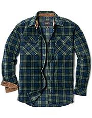 CQR Men's Fleece Long Sleeved Button-Up Plaid Brushed Shirt