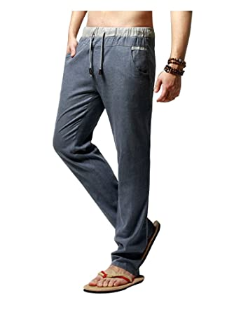 Homme Pantalon Coton Décontracté En Lin Mélange Large Soixante Coupe HFqOwO