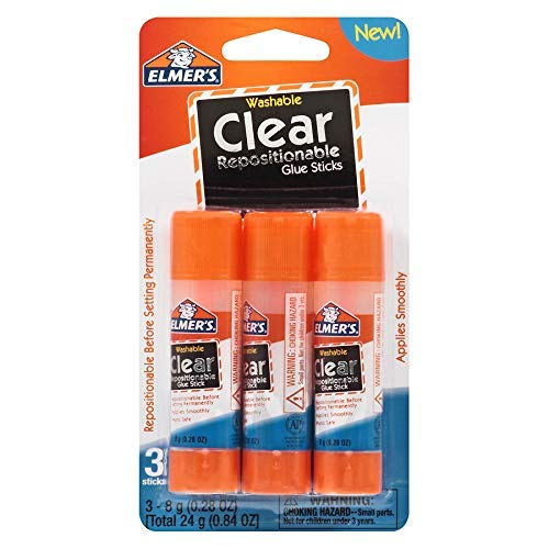Elmer's Washable Clear Repositionable Glue Sticks - 3 Pack (0.28 Ounces each) ()