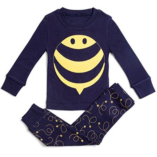 Bluenido Boys Girls Pajamas BEE, Bug, Shark 2 Piece 100% Super Soft Cotton (12m-8y)