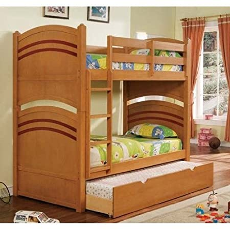 Twin Childrens Bunk Bed with Trundle