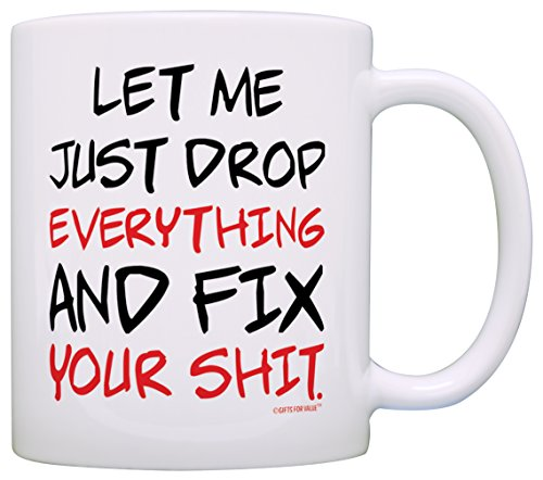 Office Humor Gifts Let Me Just Drop Everything Fix Your Expletive Gift Coffee Mug Tea Cup White (You Are My Everything Sign)
