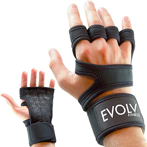 Cross Training Fitness Gloves by EVOLV - Strong Hand Protectors with Wrist Brace - Comfortable Grips for Gymnastics and WOD Cross Training - PRO Fitness Gear