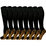 Copper Compression Socks For Men & Women -8 Pairs- Best For Running and Travel