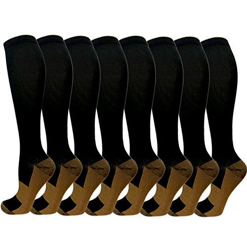 Copper Compression Socks For Men & Women -8 Pairs- Best For Running and (Sock Guy Running Socks)