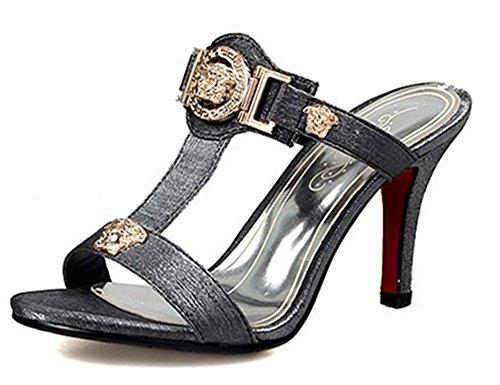 Gladiator Showhow Open Sandals High strap Toe Women's T Slide Gray Mule Heels RRw51g