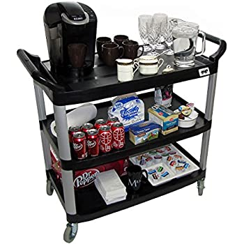 Crayata Serving And Bus Cart, Kitchen Food Service 3 Tier Heavy Duty  Plastic Beverage And