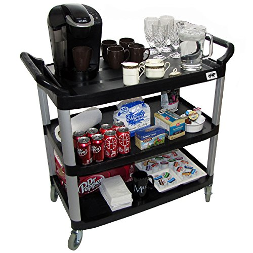 Black Vending Cart - Crayata Serving and Bus Cart, Kitchen Food Service 3 Tier Heavy Duty Plastic Beverage and Coffee Transport Cart for Restaurants, Black