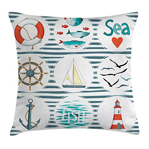 (Ambesonne Nautical Throw Pillow Cushion Cover, Sea Set with Fishes Lifebuoy Gulls Lighthouse Marine Inspired Maritime Theme, Decorative Square Accent Pillow Case, 36