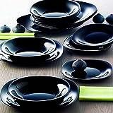 Place Table assiettes 15 pièces Set pour 5 personne de la Luminarc Karine Noir Noir (fonds plan Fruits) …