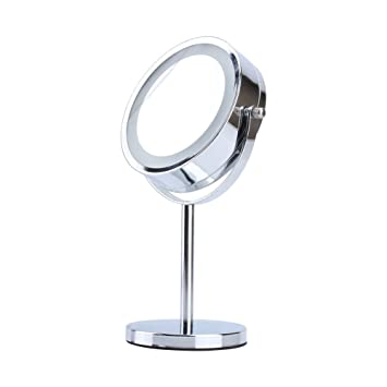 LED Light Cosmetic Makeup Mirror  Double Sided Adjustable 5x Magnifying Vanity  Mirror Hand HeldAmazon com  LED Light Cosmetic Makeup Mirror  Double Sided  . Mirror On A Stand Vanity. Home Design Ideas
