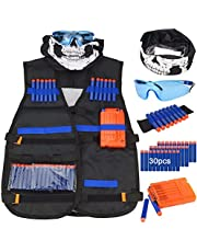 Kit de chaleco táctico para niños - Kit de chaleco táctico para niños Elite Foam Bullets para Nerf N-strike Elite Series con 30 dardos de recarga + 1 Clip de recarga + Muñequera de dardo suave