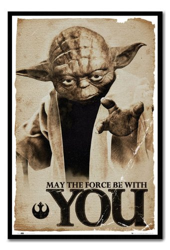 Star Wars Yoda May The Force Be With You Poster Cork Pin Memo Board Black Framed - 96.5 x 66 cms (Approx 38 x 26 inches)