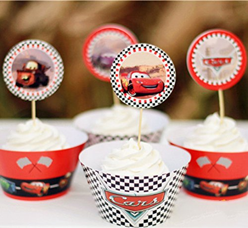 Betop House 12pcs Car Themed Boys Birthday Party Baby Shower Halloween Decorative Wrappers and Toppers Kit ()