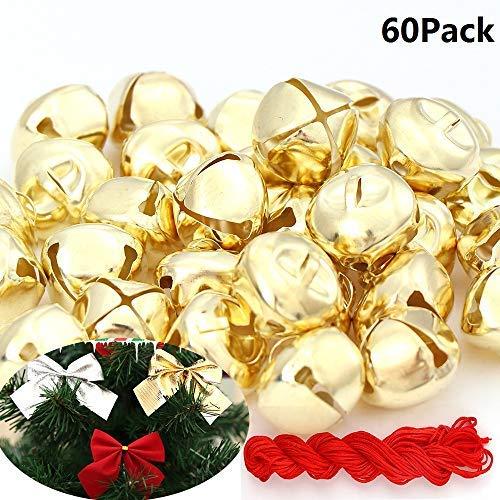 Paquete de 60 cascabeles de oro de Navidad para Navidad, fiestas y festivales.
