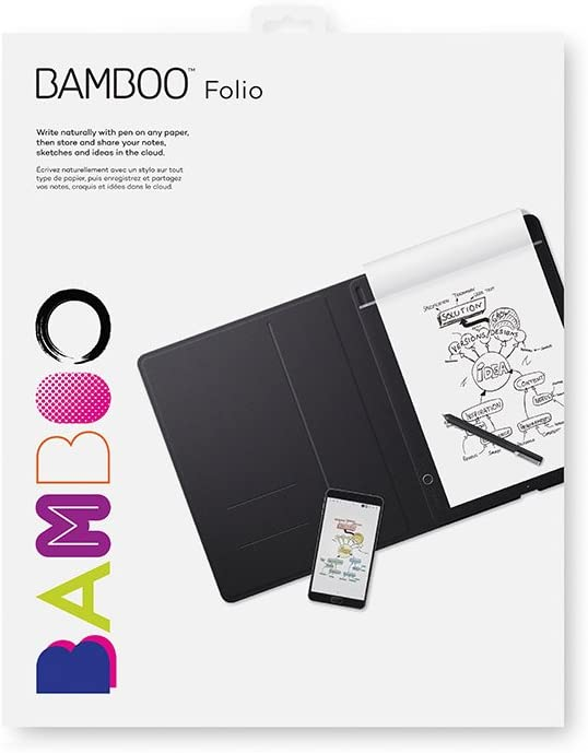 Wacom K100871 Bamboo Folio Digital Notepad Letter Size Large Portfolio Notebook with Digitisation Technology Including Stylus with Ballpoint Pen Compatible with Android and Apple Dark Grey