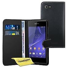 Xperia E3 Case, FoneExpert® Premium Leather Flip Book Wallet Case Cover For Sony Xperia E3 + Screen Protector & Cloth (Black)