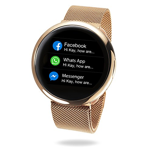 MyKronoz ZeRound2 HR Elite Smartwatch with Heart Rate Monitoring and Smart Notifications, Swiss Design, iOS and Android - Shiny Pink Gold / Milanese Pink Gold by MyKronoz (Image #4)