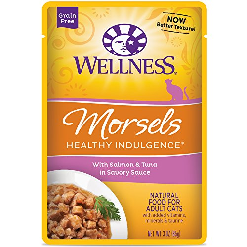 Wellness Healthy Indulgence Natural Grain Free Wet Cat Food, Morsels Salmon & Tuna, 3-Ounce Pouch (Pack of 24)