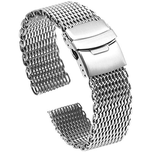 Solid Shark Mesh 18mm Stainless Steel Watch Band, Diving Wrist Silver Watch Strap Replacement Ladies Watch Bracelet Silver Deployment Clasp (18mm Mesh Watch Band)