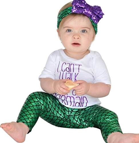 Newborn Baby Girls Mermaid Outfits Clothes T-Shirt Tops+Pants+Headband 3pcs Set Size 3-6 Months (Green) ()