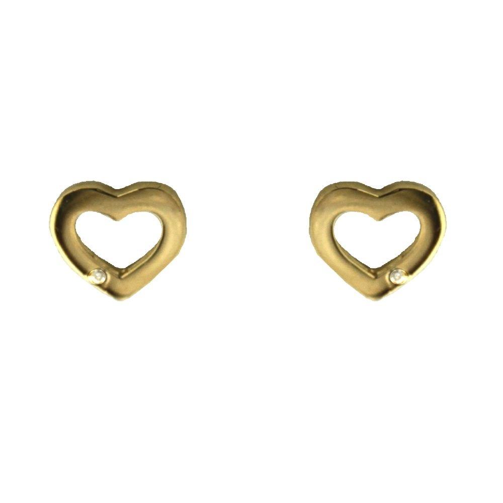 18K Tiny Diamond open heart post earrings 6.87 mm, 0.27 inch