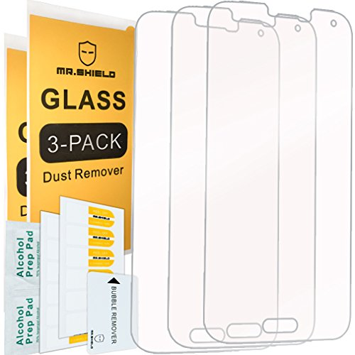 [3-Pack]- Mr.Shield for Samsung Galaxy S5 [Tempered Glass] Screen Protector [0.3mm Ultra Thin 9H Hardness 2.5D Round Edge] with Lifetime Replacement (S5 Screen Galaxy Protector Hd)