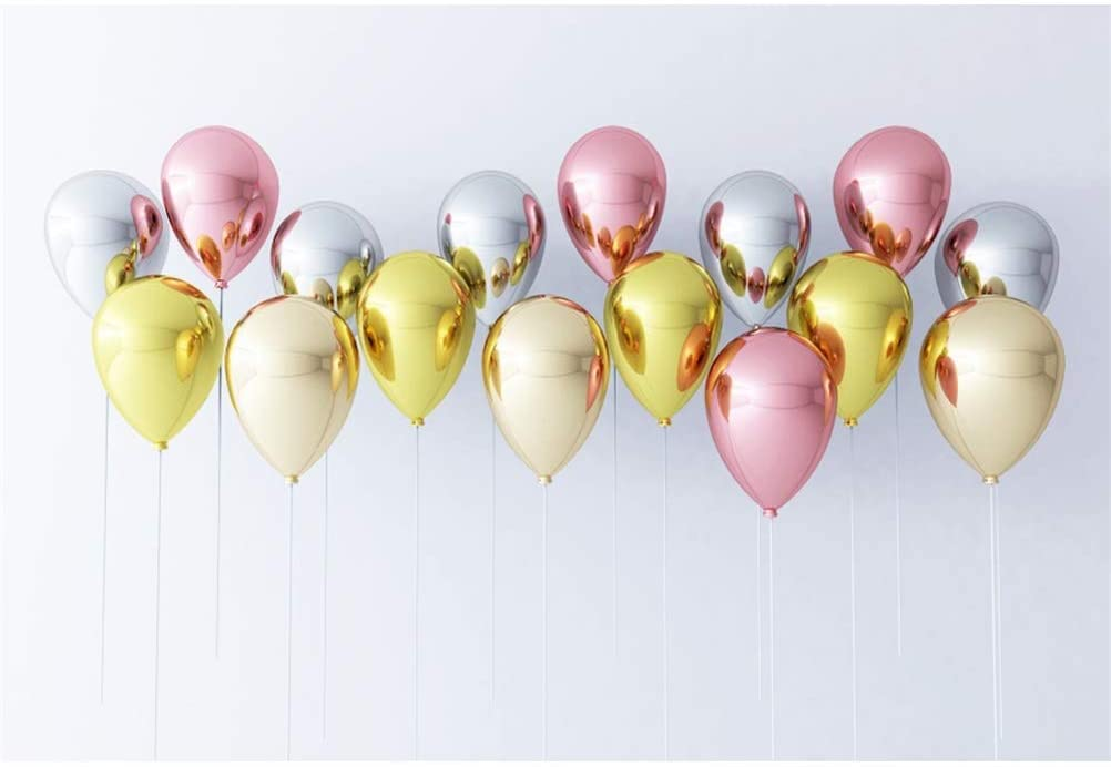 Polyester 10x6.5ft Romantic Valentines Day Background Floating Pink Golden Silver Mirror Face Hydrogen Balloons White Wall Backdrops Child Girls Lovers Couple Portraits Birthday Festival Photo