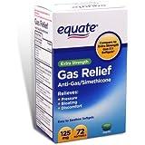Equate - Gas Relief, Extra Strength, Simethicone 125 mg, 72 Softgels, Compare to Gas-X