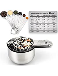 CheckOut 1Easylife Stainless Steel Measuring Cups and Spoons Set of 15, Includes 6 Measuring Cups, 6 Measuring Spoons,... cheapest