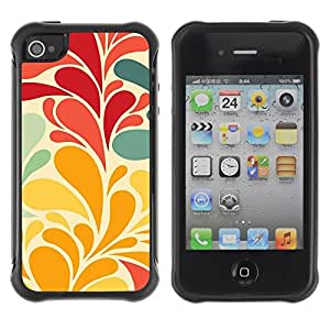Fuerte Suave TPU GEL Caso Carcasa de Protección Funda para Apple Iphone 4 / 4S / Business Style Flowers Leaves Wallpaper Red Teal