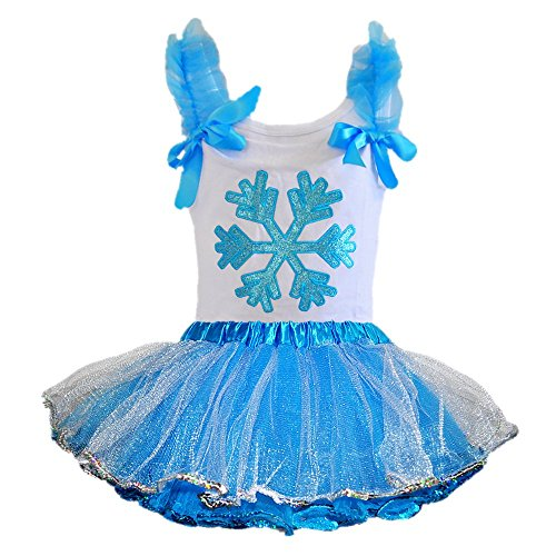 Frozen Snowflake T-Shirt with 4 Layers Tulle Tutu Outfit (Age 1-2, Silver-Blue)]()