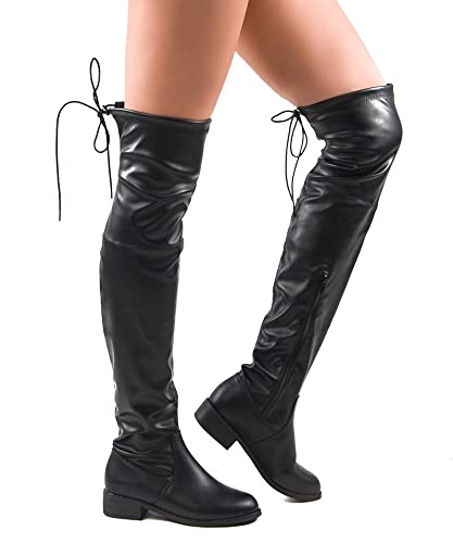 Amazon.com | ROF Women's Fashion Comfy Vegan Suede Block Heel Side ...