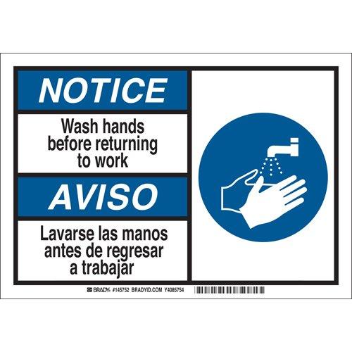 Trabajar Sign - Brady 145752 Plastic NOTICE Wash hands before returning to work. Lavarse las manos antes de regresar a trabajar Sign, Black/Blue on White