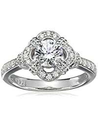 Platinum-Plated Sterling Silver Swarovski Zirconia Antique Frame Halo Ring (1 cttw)