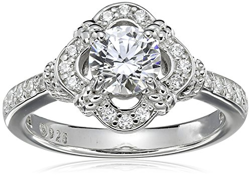 Platinum-Plated Sterling Silver Swarovski Zirconia Antique Frame Halo Ring (1 cttw), Size ()