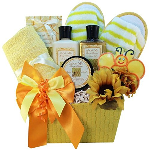 Queen Bee Gourmet Cookie and Honey Spa Bath and Body Gift Basket - A Card New Nectar Order