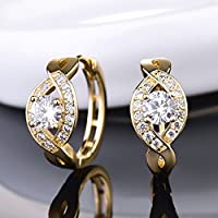 18k Gold Filled Sapphire Crystal Charms Women Wedding Small Hoop Stud Earrings