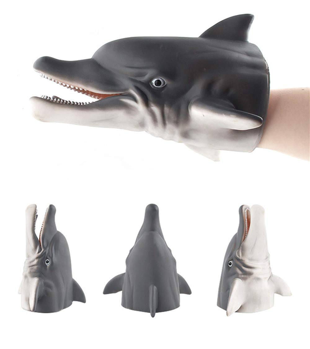 Digood Realistic Animals Hand Puppets Gloves, Soft Rubber Toys for Kids & Adults | Perfect for Storytelling, Teaching, Preschool & Role-Play (Dolphin)