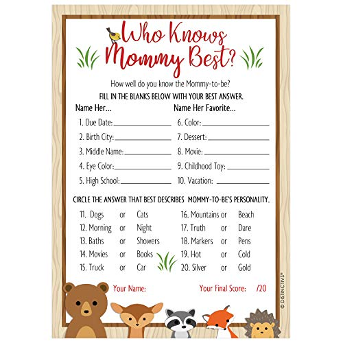 Woodland Who Knows Mommy Best Baby Shower Game