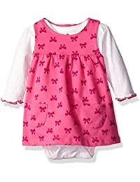 Baby Girls' 2 Piece French Terry Jumper Set With Longsleeve Bodysuit