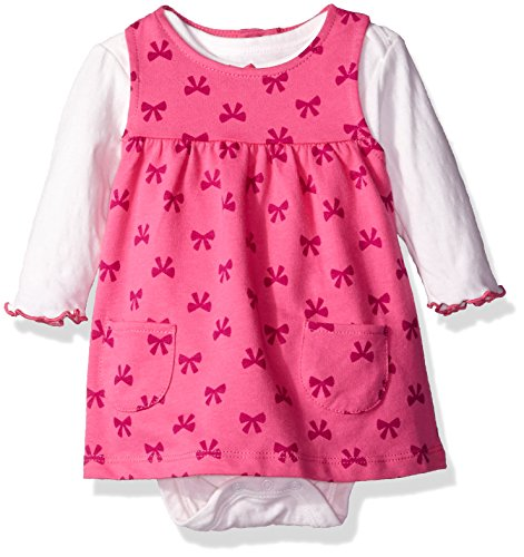 BON BEBE Baby Girls' 2 Piece French Terry Jumper Set with Longsleeve Bodysuit, Pink Ribbons, 18 Months