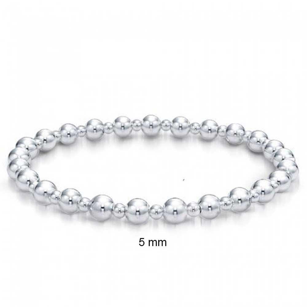 925 Sterling Silver Round Ball Bead Bridal Stretch Bracelet