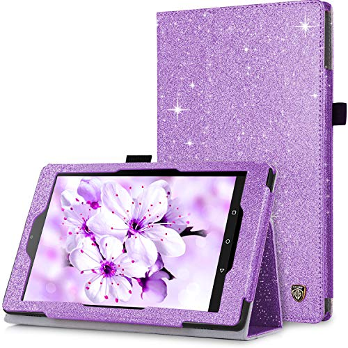 BENTOBEN Case for Fire HD 8 (2018/2017/2016 Release, 8th/7th/6th Generation) Glitter Sparkly Folio Folding Kickstand Smart Cover with Stylus Holder & Auto Wake/Sleep for Amazon Fire HD 8, Purple