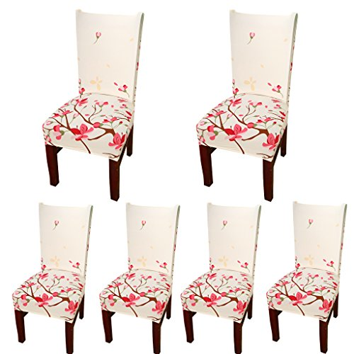 Deisy Dee Stretch Chair Cover Removable Washable for Hotel Dining Room Ceremony Chair Slipcovers Pack of 6 (O) (Seat Table Covers)